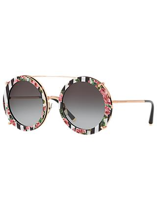 Dolce & Gabbana DG2198 Women's Round Sunglasses, Rose Gold/Multi