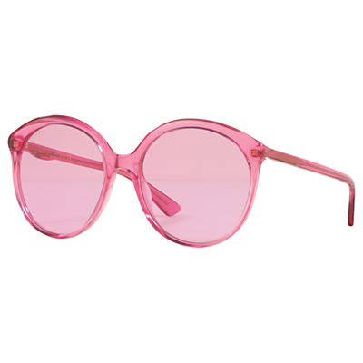 Gucci GG0257S Women's Round Sunglasses, Clear Pink