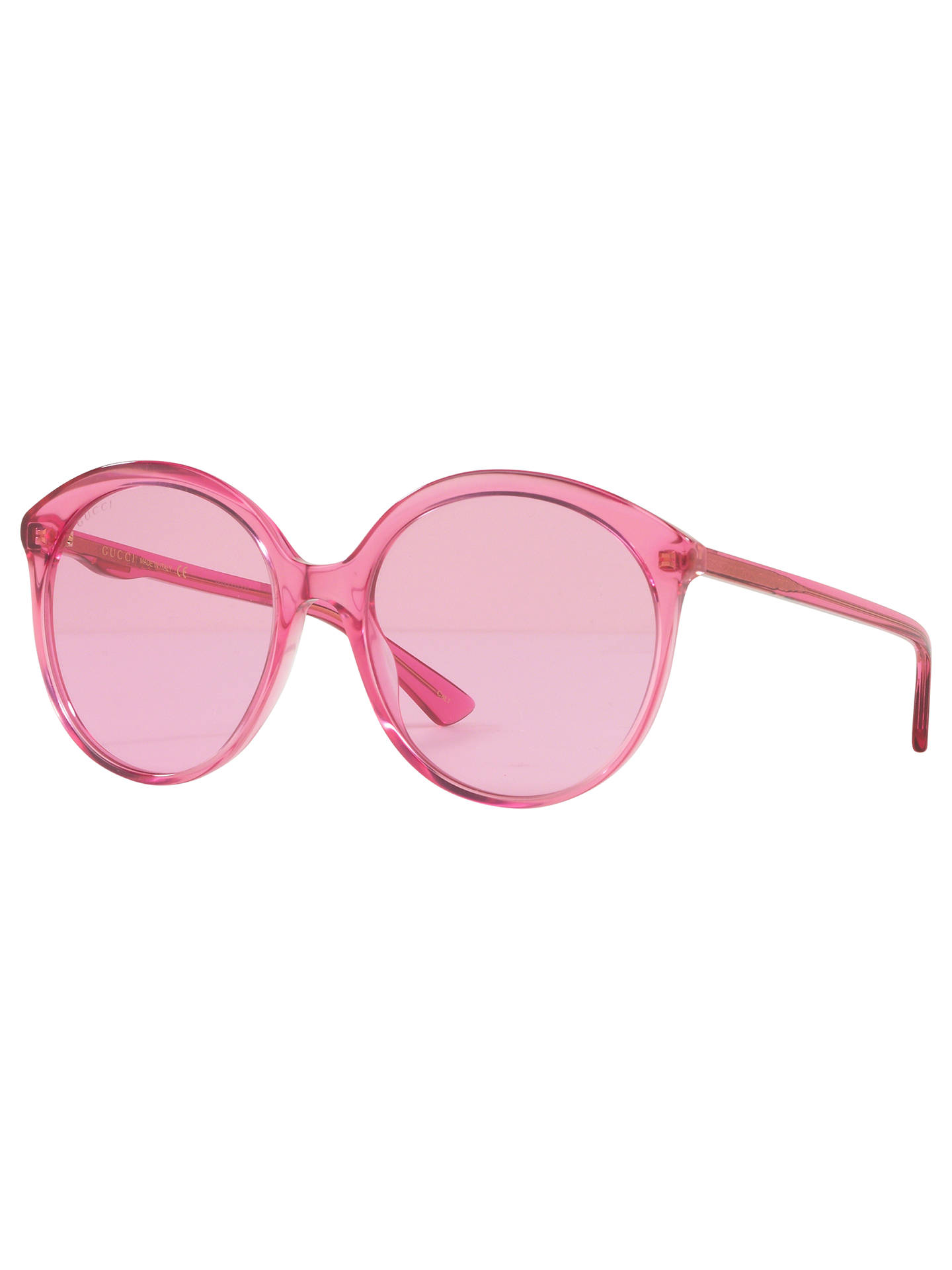 3ba984698 Buy Gucci GG0257S Women's Round Sunglasses, Clear Pink Online at johnlewis.  ...