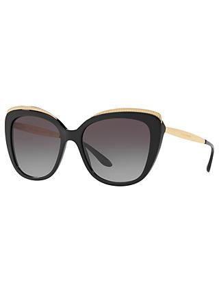 Dolce & Gabbana DG4332 Women's Cat's Eye Sunglasses, Black/Grey Gradient