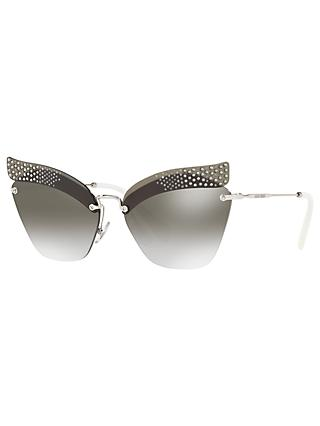 Miu Miu MU 56TS Rimless Cat's Eye Sunglasses, Silver/Mirror Grey