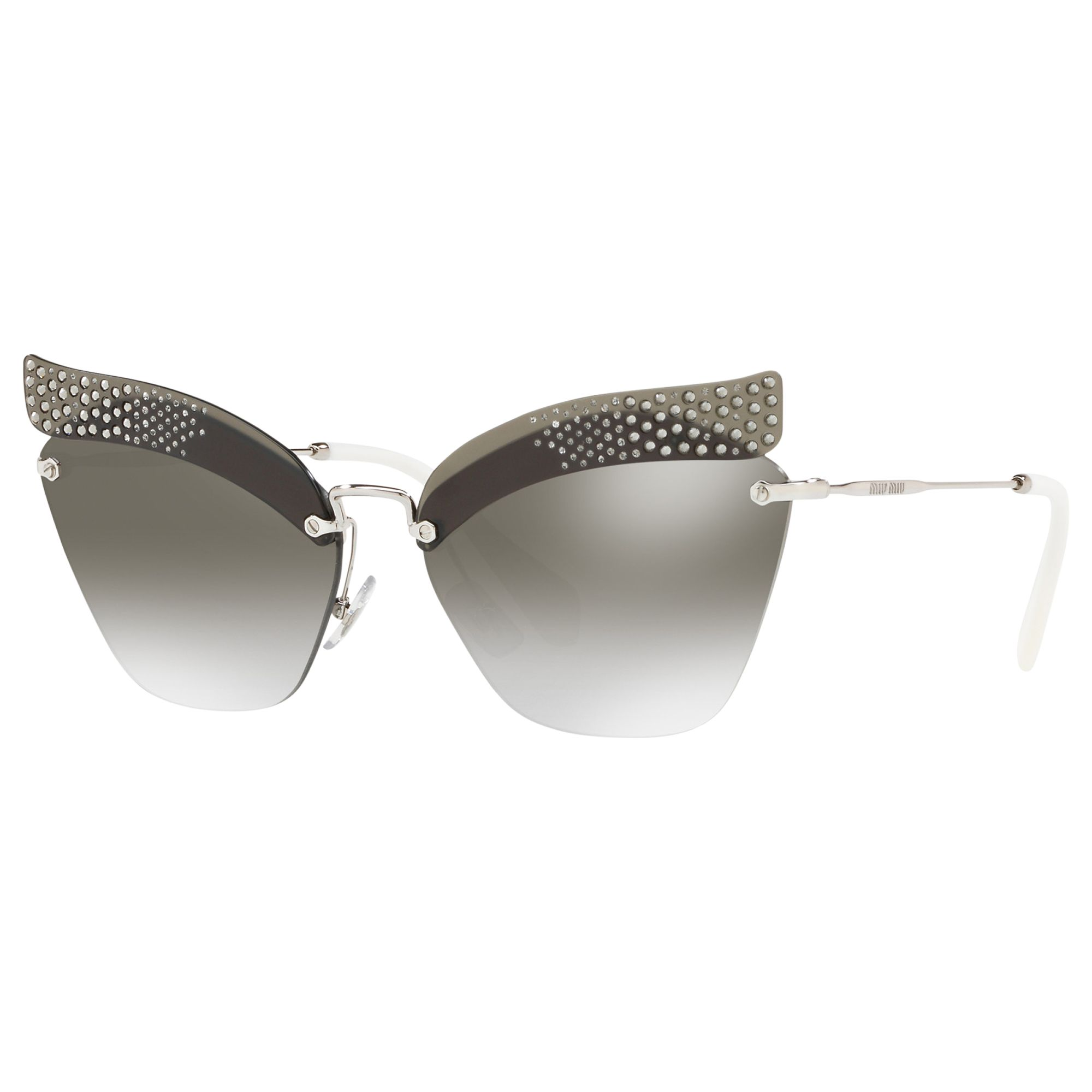 Miu Miu Miu Miu MU 56TS Rimless Cat's Eye Sunglasses, Silver/Mirror Grey