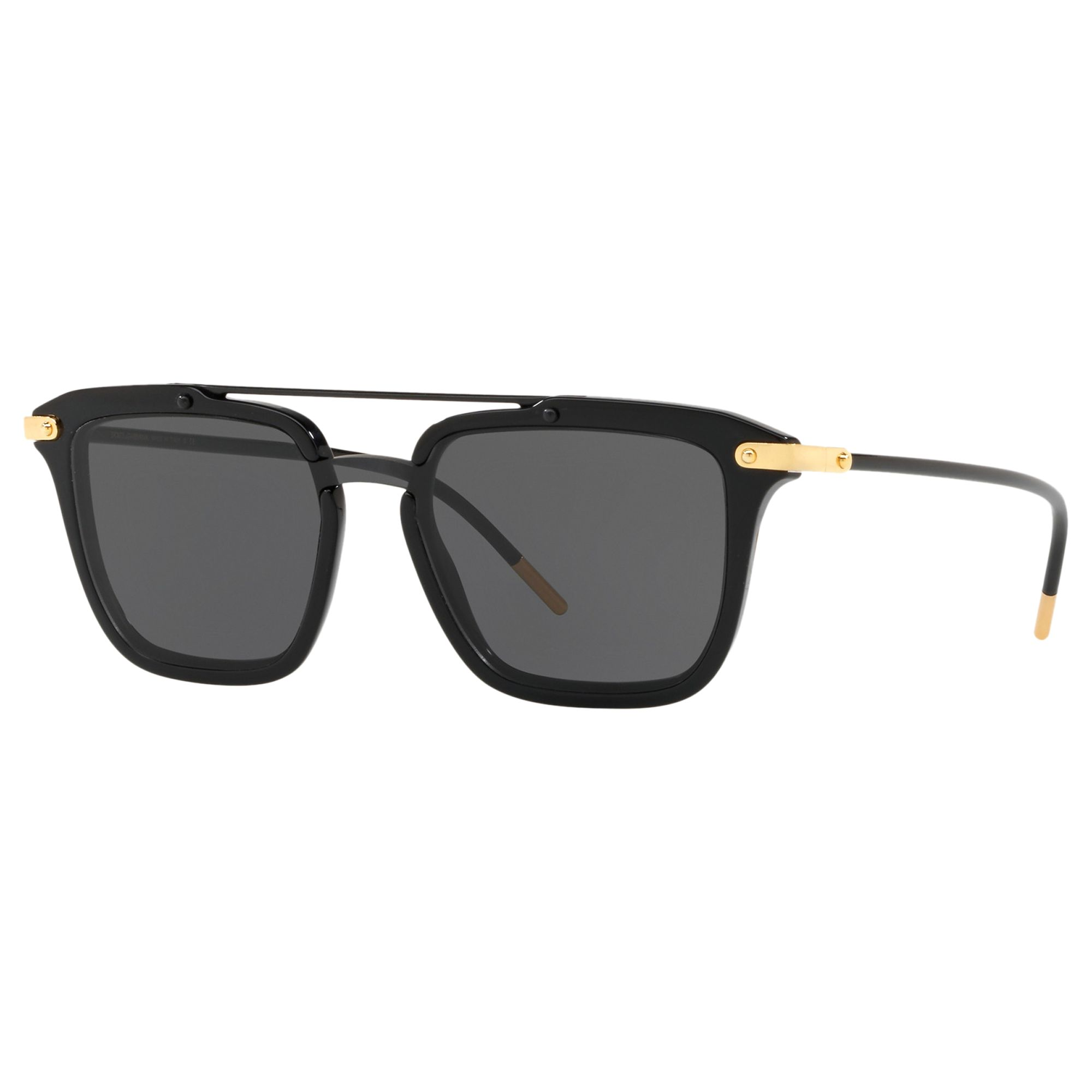 Dolce & Gabbana Dolce & Gabbana D4327 Women's Square Polarised Sunglasses, Black/Grey