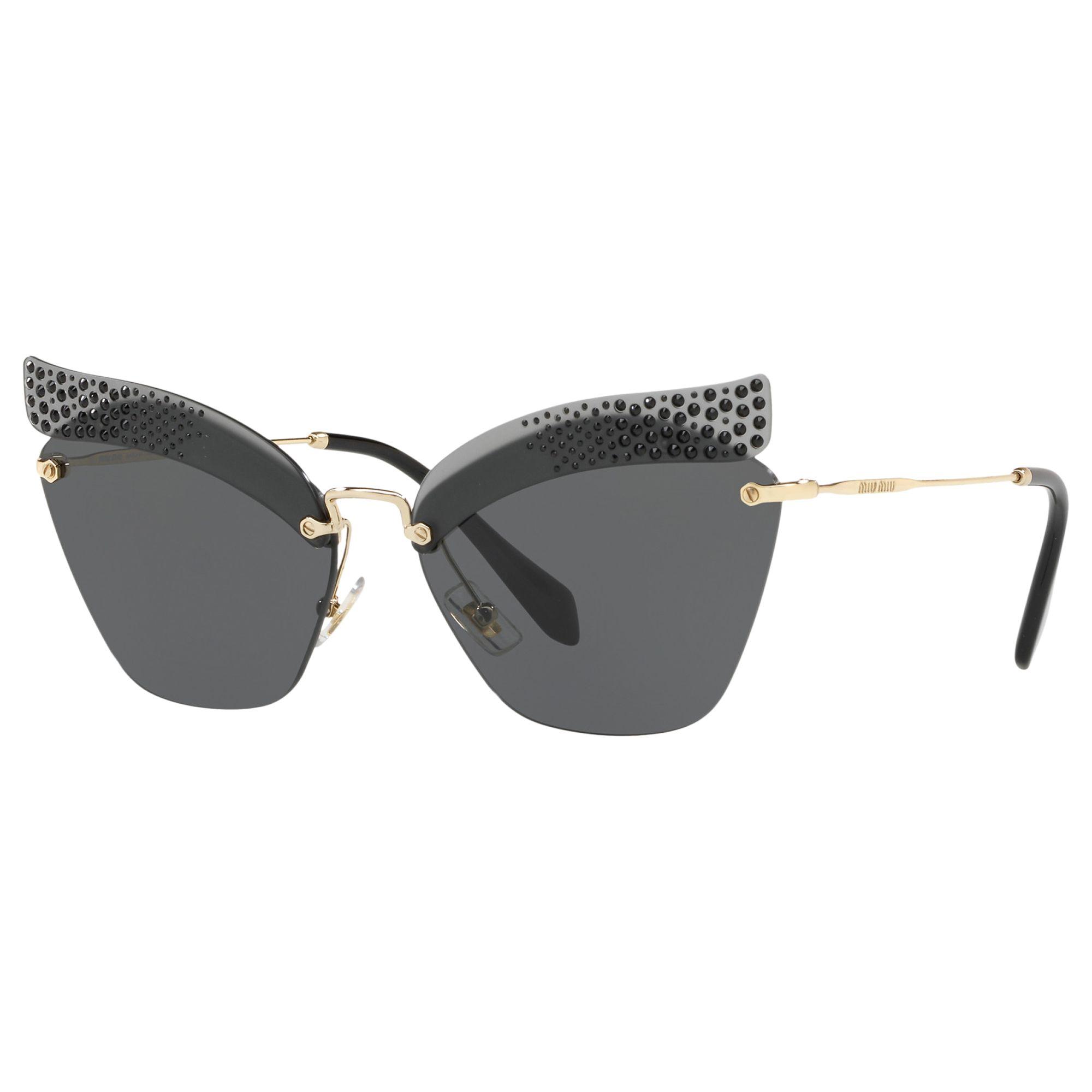 Miu Miu Miu Miu MU56TS Rimless Square Sunglasses, Grey/Grey