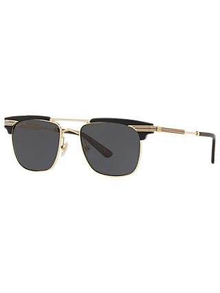 Gucci GG0287S Men's Rectangular Sunglasses, Black Sheen/Grey Gradient