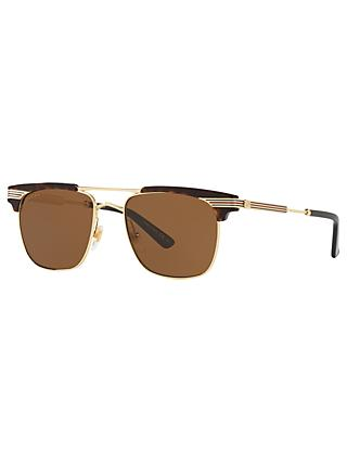 Gucci GC001132 Men's Retangular Sunglasses, Brown/Gold