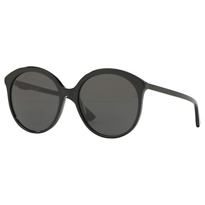 Gucci GG0257S Women's Round Sunglasses, Black/Grey