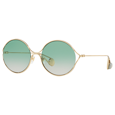 Gucci GG0253S Women's Round Sunglasses, Gold/Green Gradient