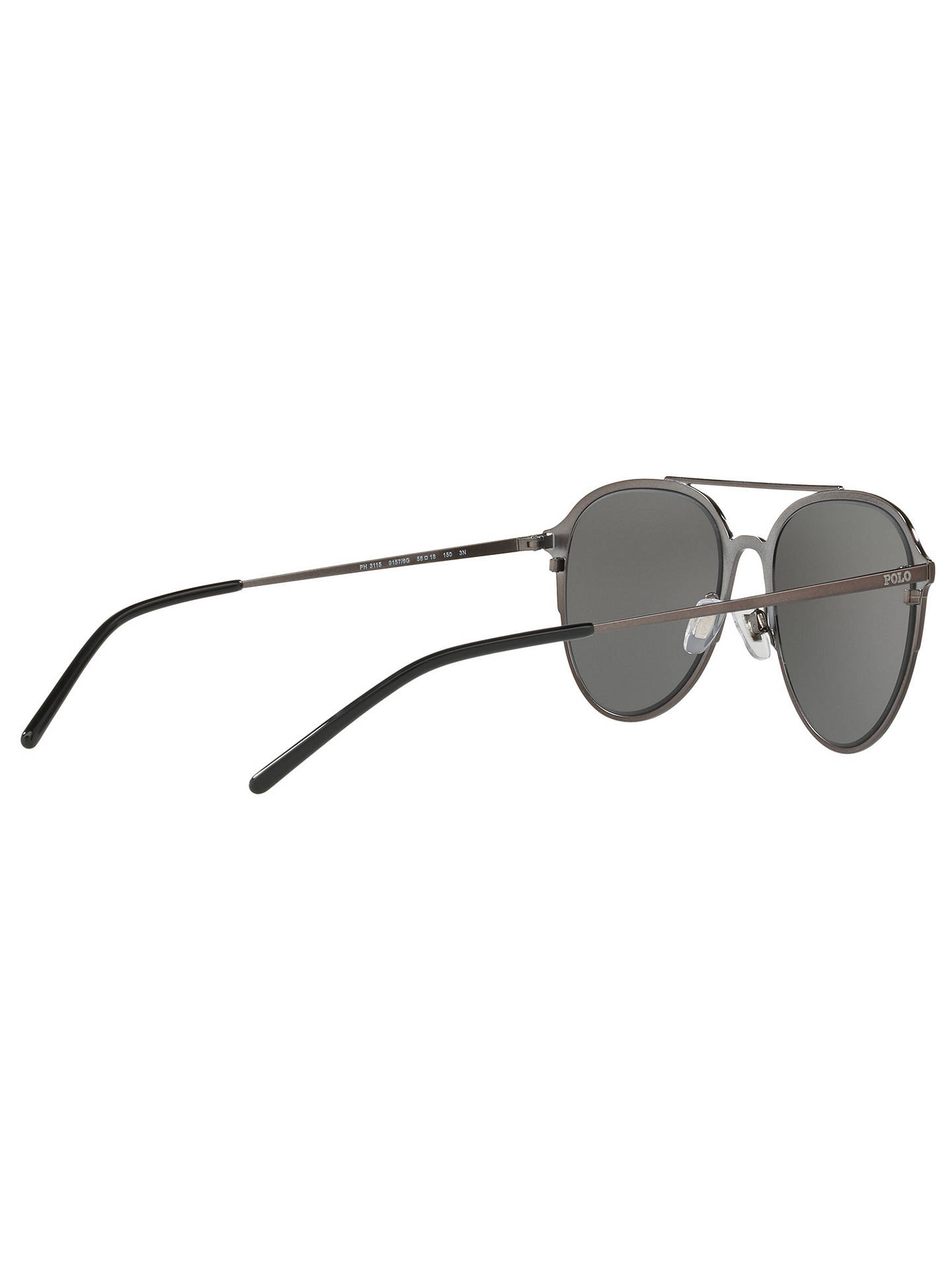 BuyPolo Ralph Lauren PH3115 Men's Aviator Sunglasses, Gunmetal/Silver Online at johnlewis.com
