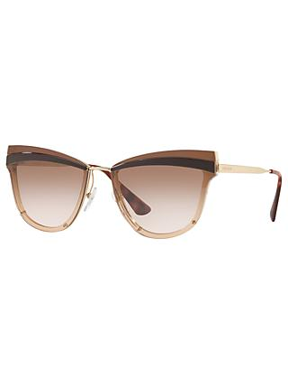 Prada PR 12US Women's Cat's Eye Sunglasses, Rose Gold/Brown