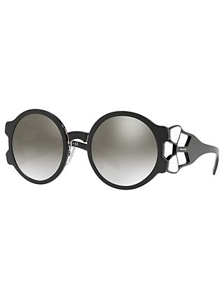 Prada PR 17US Women's Oval Sunglasses, Black/Silver Mirror