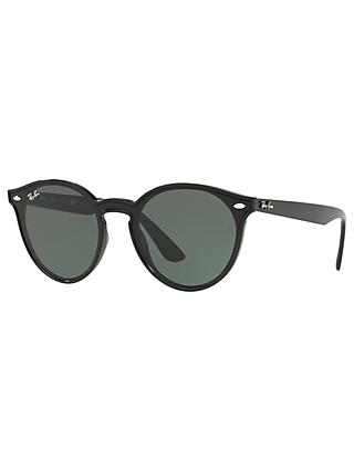 Ray-Ban RB4380N Unisex Oval Sunglasses, Black/Green