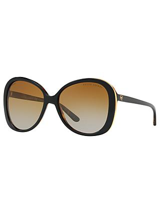 Ralph Lauren RL8166 Women's Butterfly Polarised Sunglasses, Black/Brown