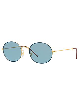 Ray-Ban RB3594 Unisex Round Sunglasses, Blue