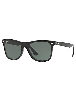 Ray-Ban RB4440 Unisex Polarised Sunglasses, Black/Green
