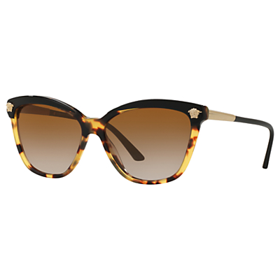 Versace VE4313 Women's Polarised Rectangular Sunglasses, Black Havana/Brown Gradient