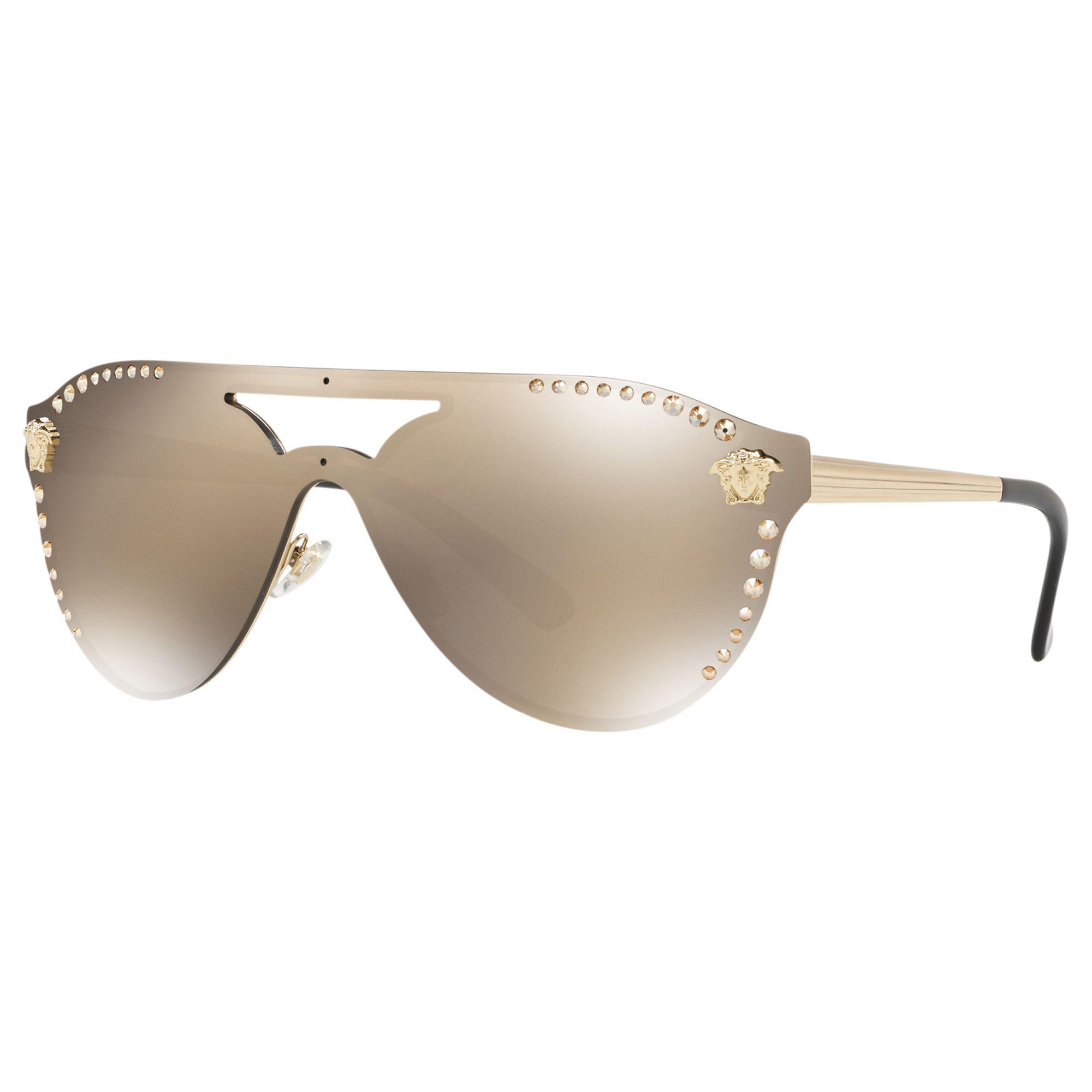 Versace Versace VE2161B Women's Studded Rectangular Sunglasses, Gold/Mirror Gold