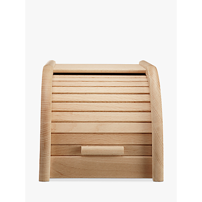 John Lewis & Partners Classic Wood Roll Top Bread Bin, W20cm