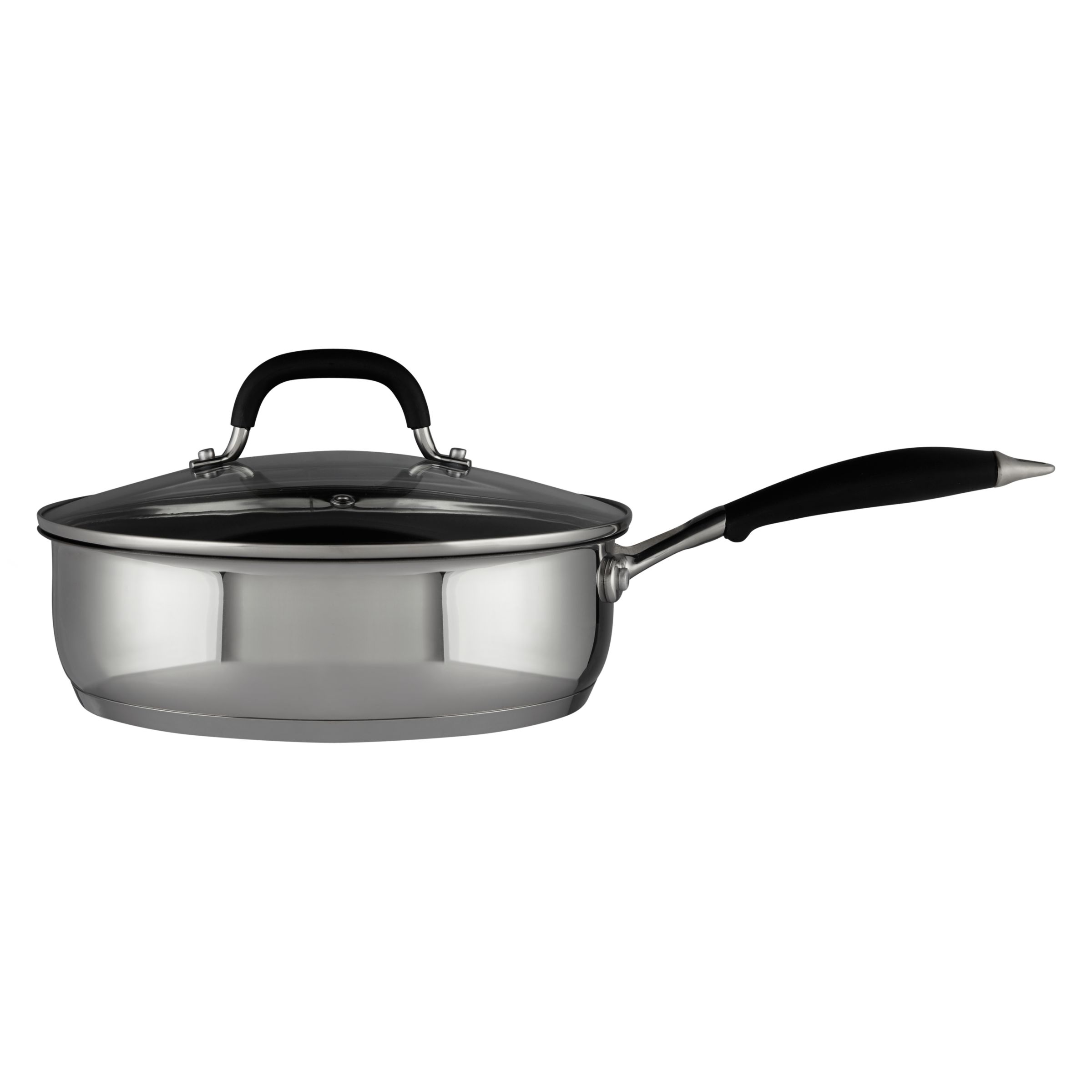 John Lewis & Partners 'The Pan' Stainless Steel Lidded Non-Stick Saute Pan, 24cm