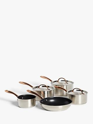 John Lewis & Partners Copper Features Pan Set, 5 Piece