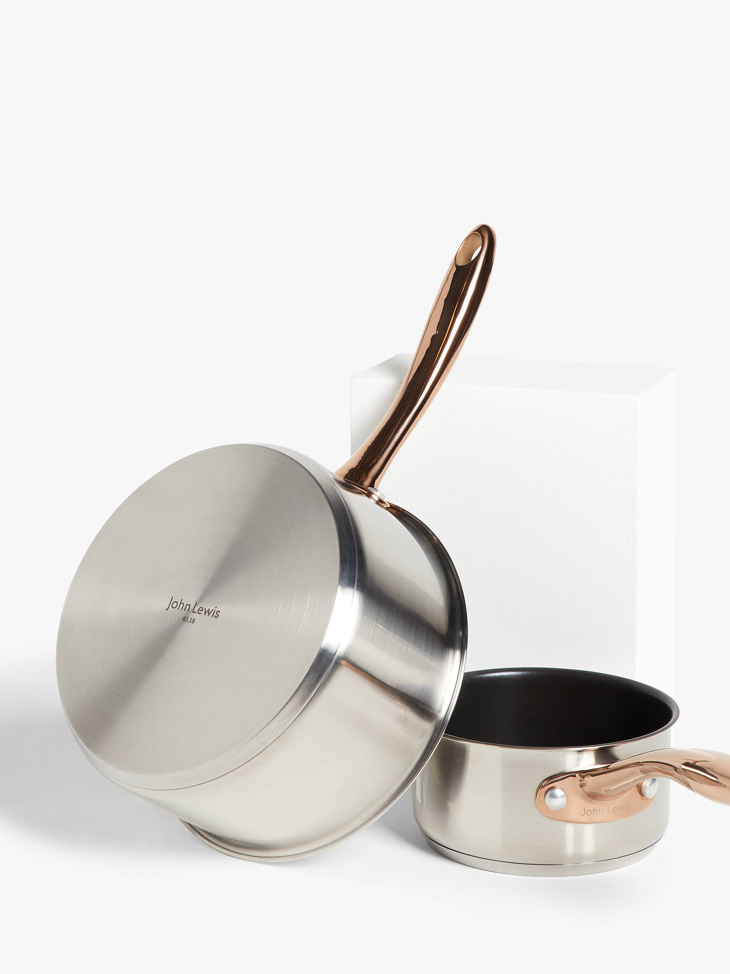 Buy John Lewis & Partners Copper Features Pan Set, 5 Piece Online at johnlewis.com