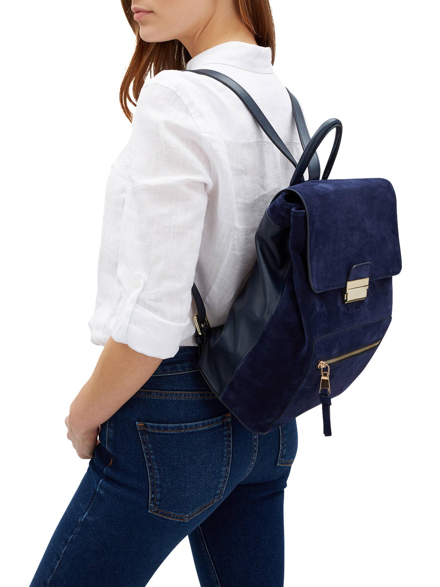Jaeger Gracie Suede Backpack, Navy