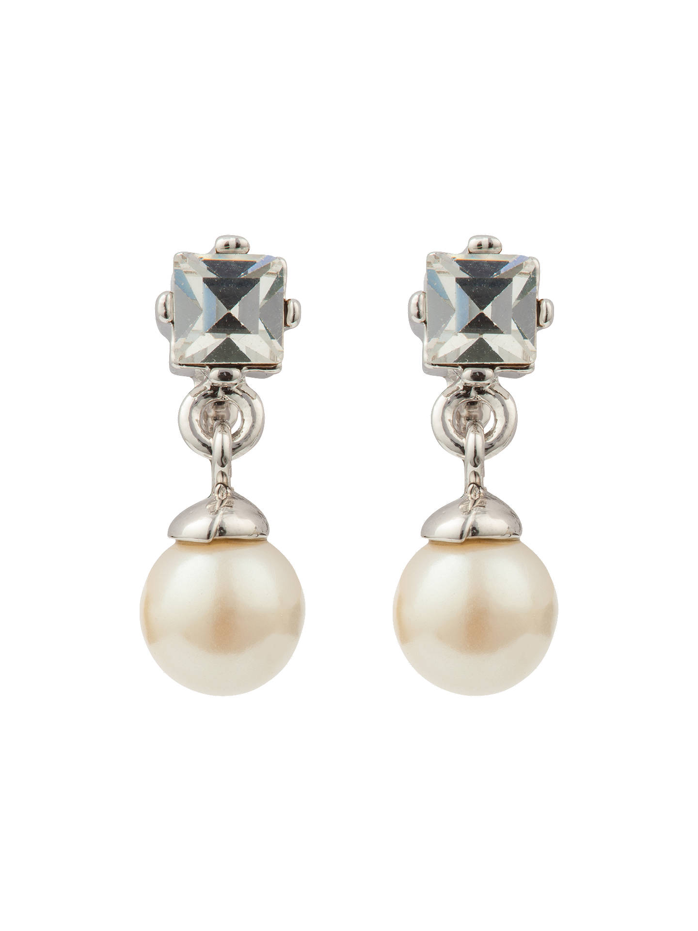 Silver Plated Earring With Pearl and Crystal Drop