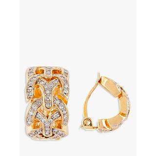 Susan Caplan Vintage D Orlan 22ct Gold Plated Swarovski Crystal Demi Hoop Clip On Earrings