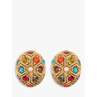 Susan Caplan Vintage 22ct Gold Plated Multi Stone Oval Stud Earrings