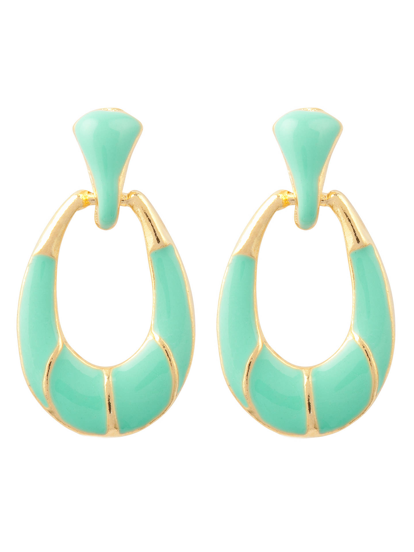 BuySusan Caplan Vintage 22ct Gold Plated Enamel Hoop Drop Earrings, Set of 2, Mint/Pastel Blue Online at johnlewis.com