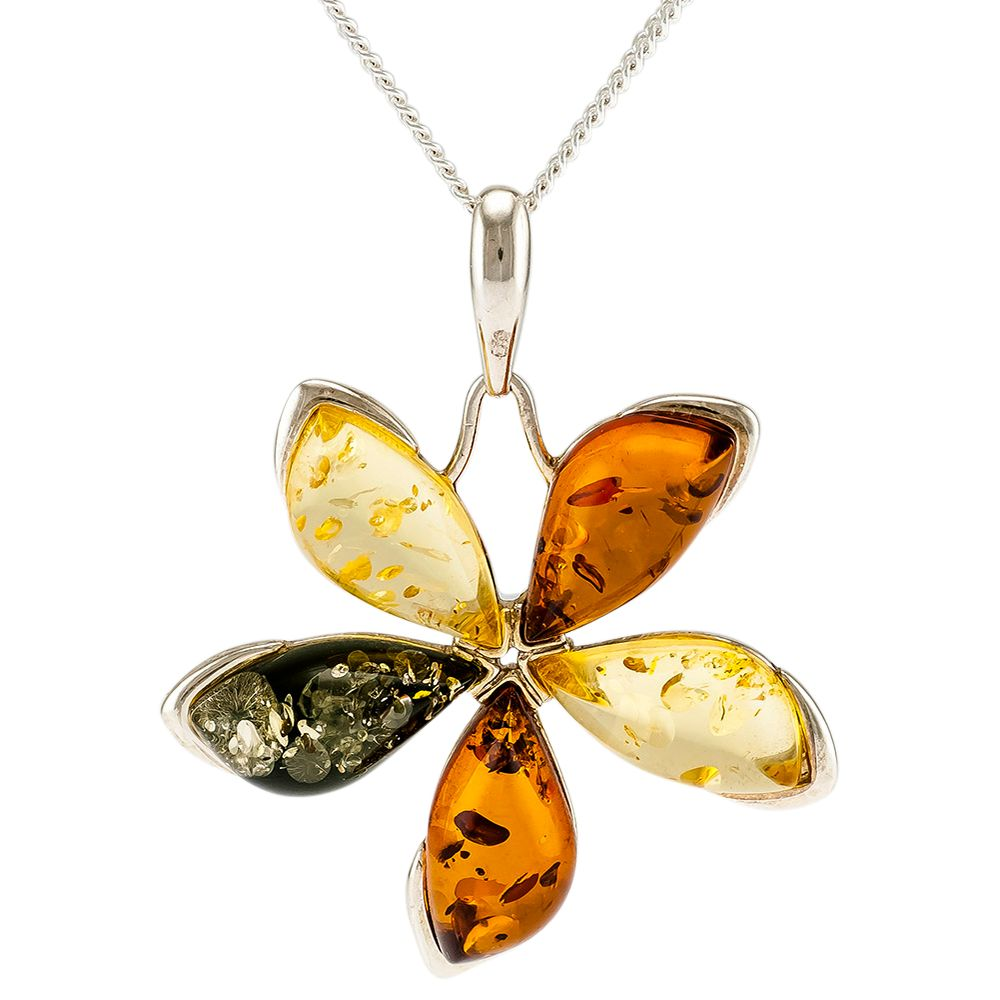 Be-Jewelled Be-Jewelled Sterling Silver Marquise Amber Flower Pendant Necklace, Multi