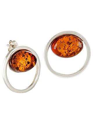 Be-Jewelled Sterling Silver Amber Cut Out Round Stud Earrings, Cognac