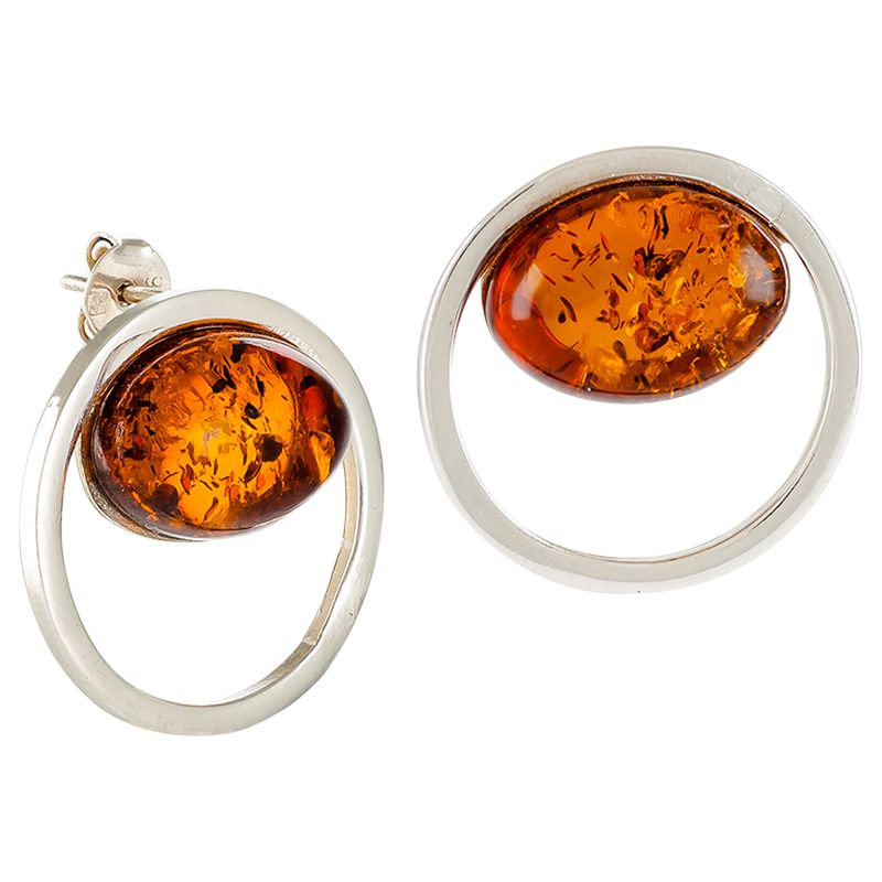 Be-Jewelled Be-Jewelled Sterling Silver Amber Cut Out Round Stud Earrings, Cognac