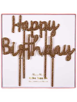 Meri Meri Happy Birthday Glitter Cake Topper, Gold