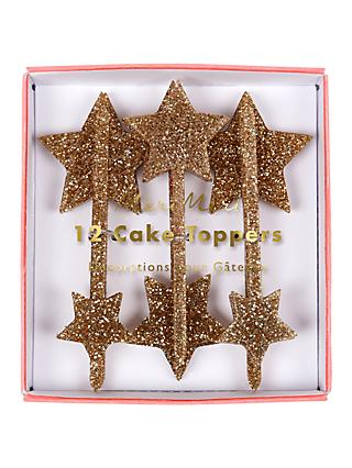Meri Meri Gold Star Glitter Cake Toppers, Set of 12