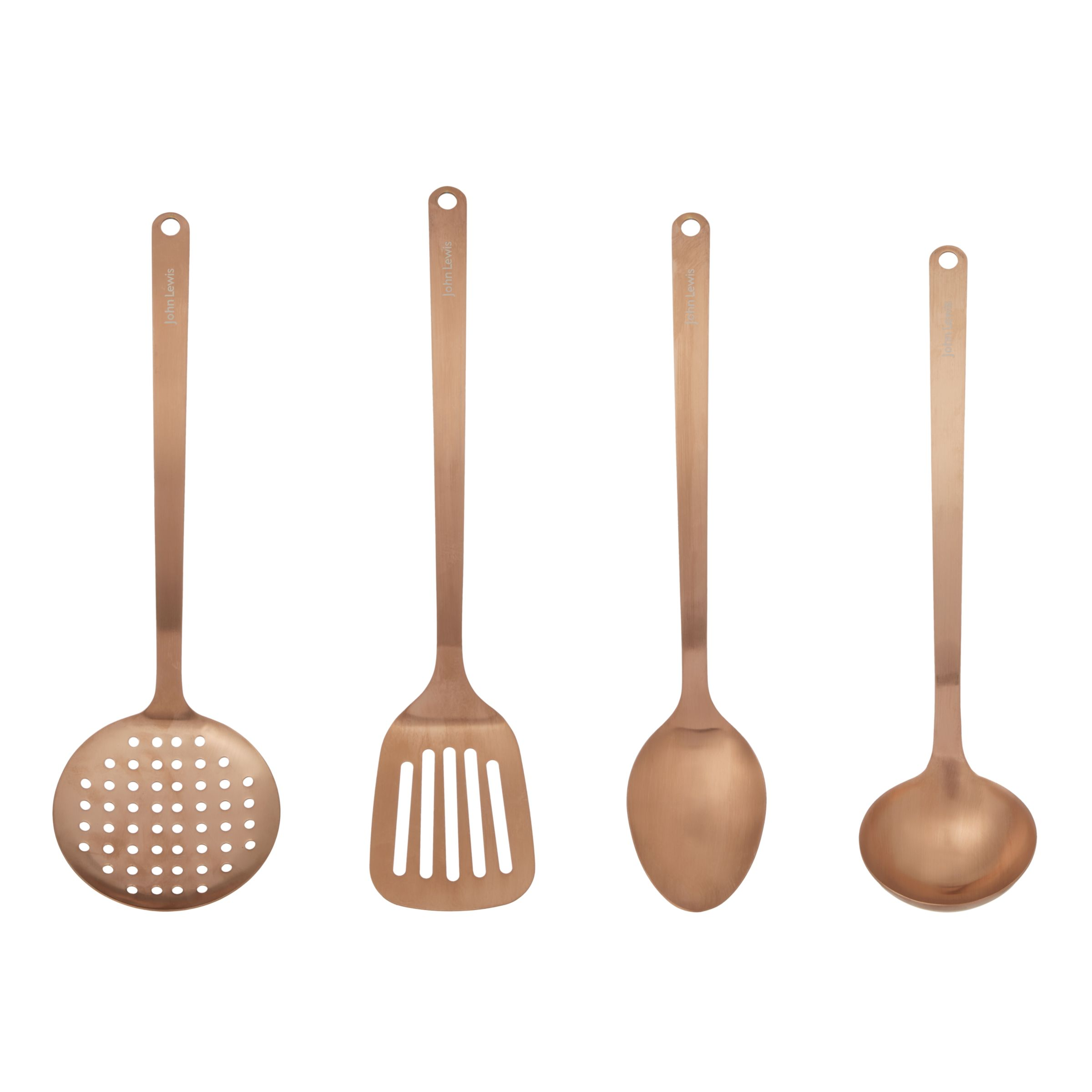 John Lewis & Partners Kitchen Utensils, Set of 8, Copper