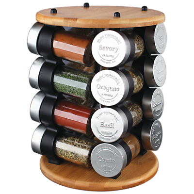 Olde Thompson 16 Jar Embossed Stainless Steel / Bamboo Spice Rack Carousel
