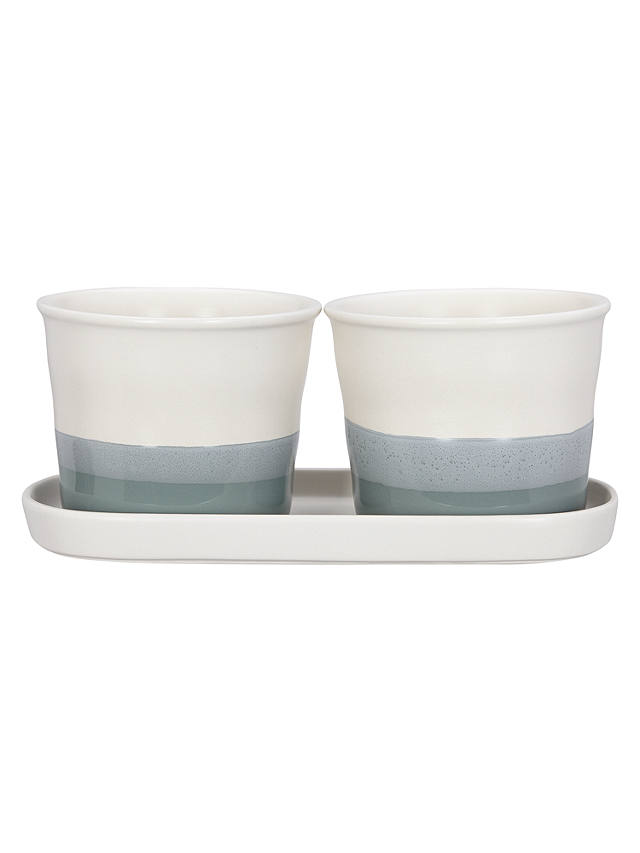 Buy Croft Collection Set of 2 Stoneware Herb Pots and Tray Online at johnlewis.com