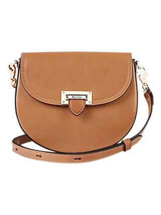 Aspinal of London Portobello Leather Saddle Bag, Tan
