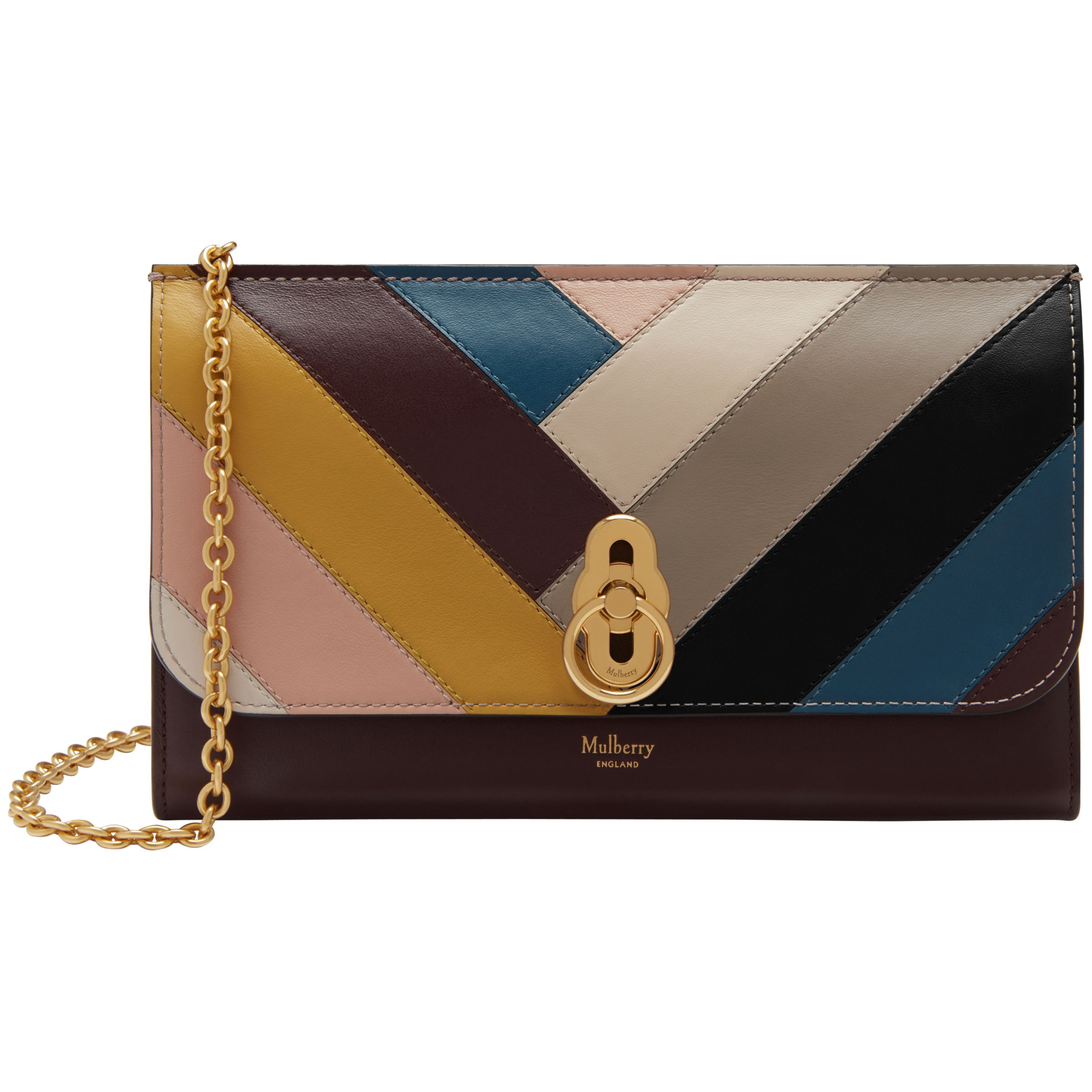 56543feb0bd ... good mulberry amberley smooth calf leather chevron clutch bag oxblood  multi at john lewis partners e14e2