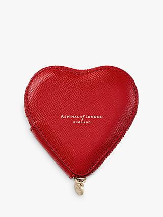Aspinal of London Leather Heart Coin Purse, Scarlet