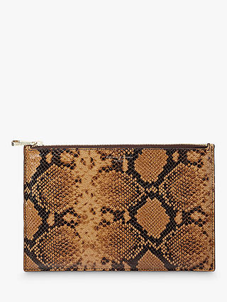 Buy Aspinal of London Leather Large Essential Pouch Purse, Mustard/Snake Online at johnlewis.com