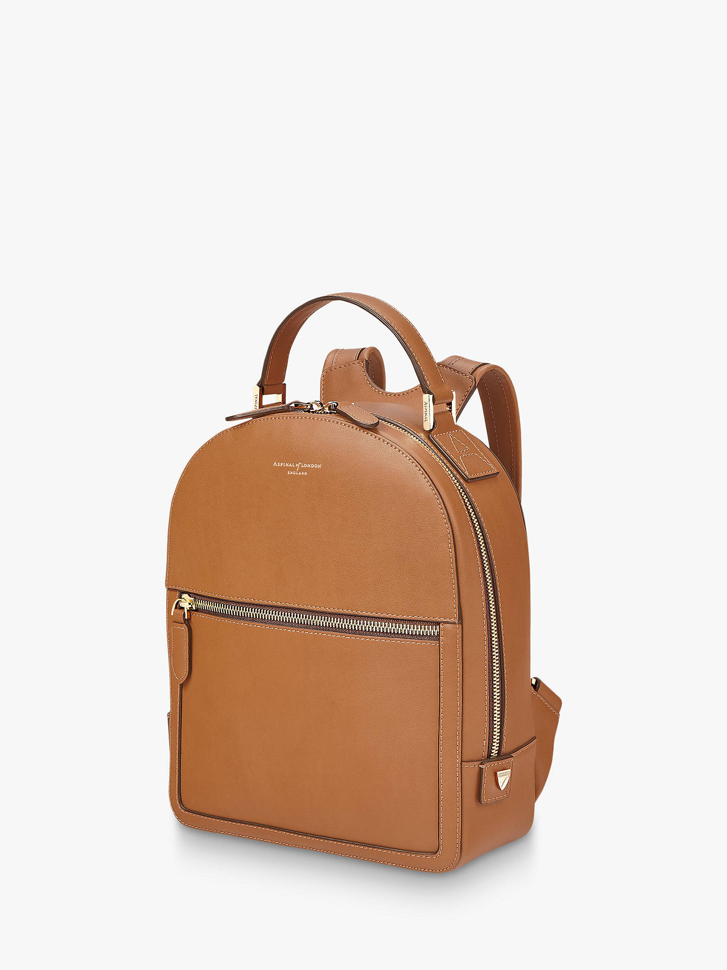 BuyAspinal of London Small Mount Street Leather Backpack, Tan Online at johnlewis.com