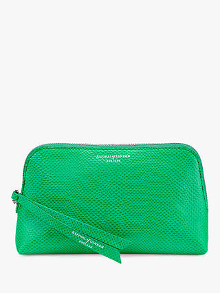 Buy Aspinal of London Essential Leather Small Cosmetic Case, Grass Green Online at johnlewis.com