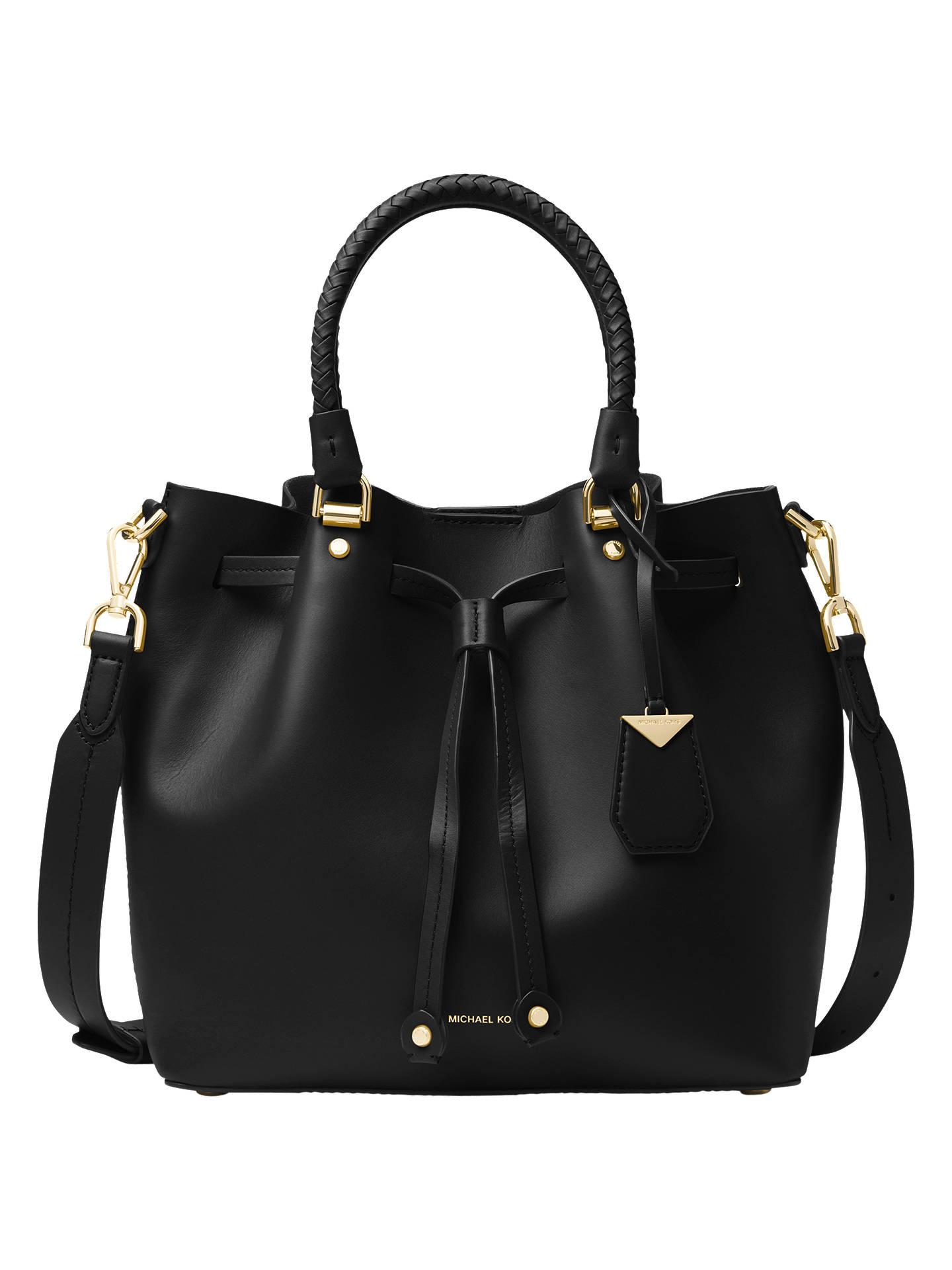a8043807530c23 Buy MICHAEL Michael Kors Blakely Leather Bucket Bag, Black/Gold Online at  johnlewis.