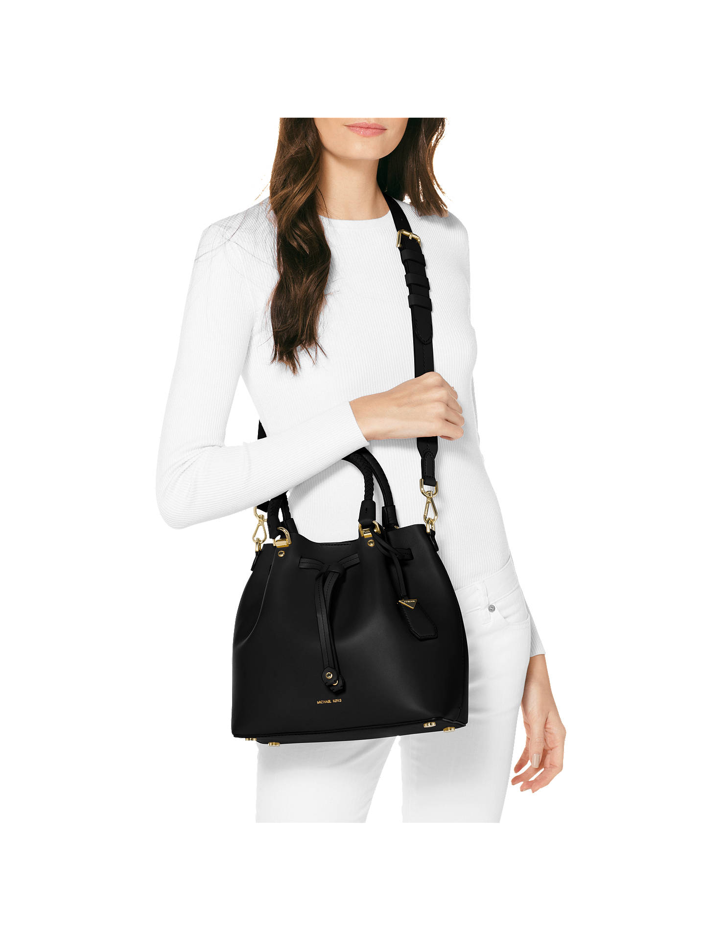 1f3a0a40fe1493 Buy MICHAEL Michael Kors Blakely Leather Bucket Bag, Black/Gold Online at  johnlewis.