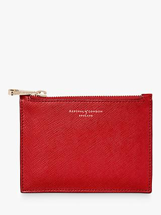 Aspinal Of London Essential Leather Small Pouch Scarlet