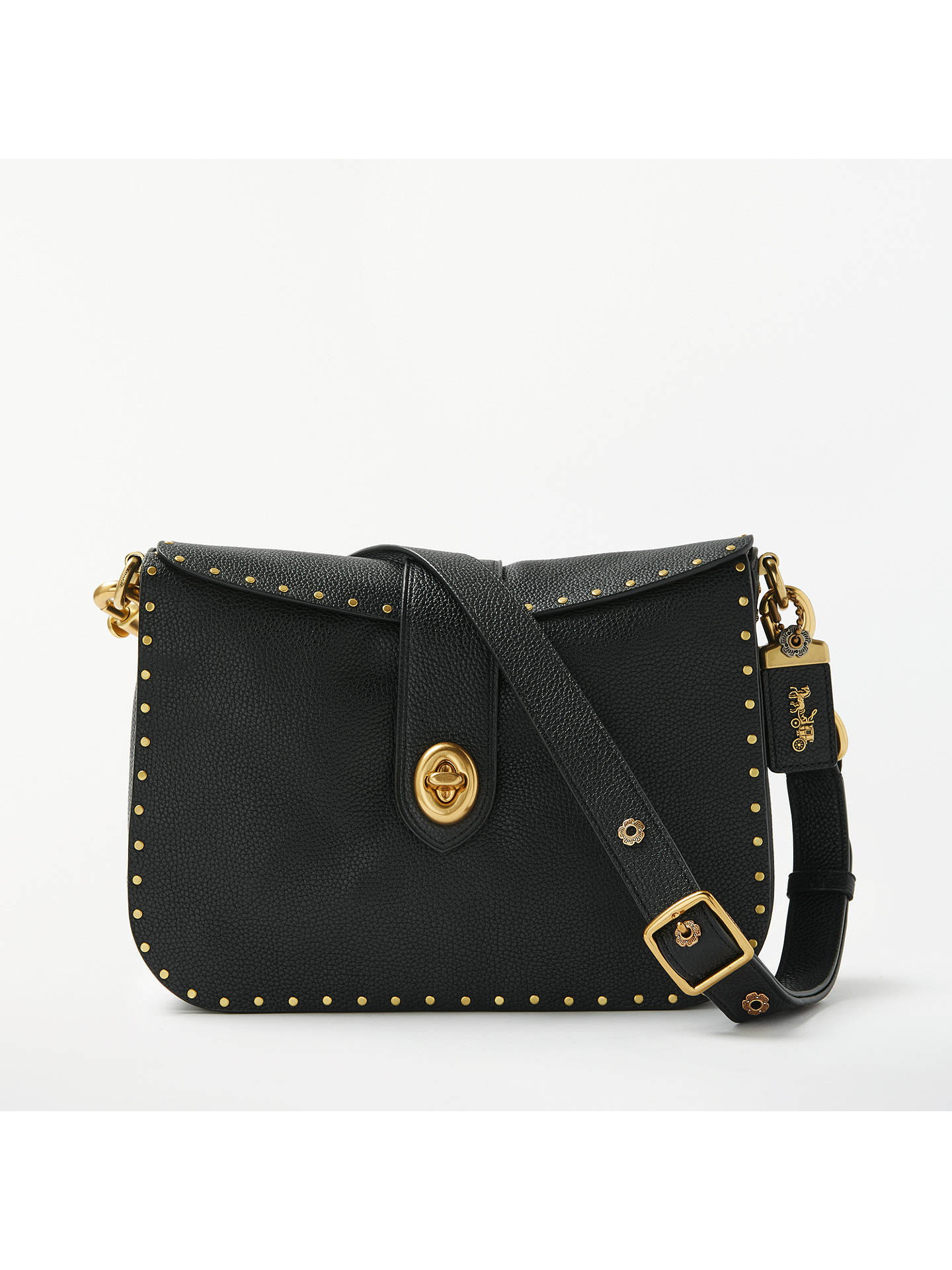 c7f0b5571 Buy Coach Page Leather Cross Body Bag, Black Rivets Online at johnlewis.com  ...