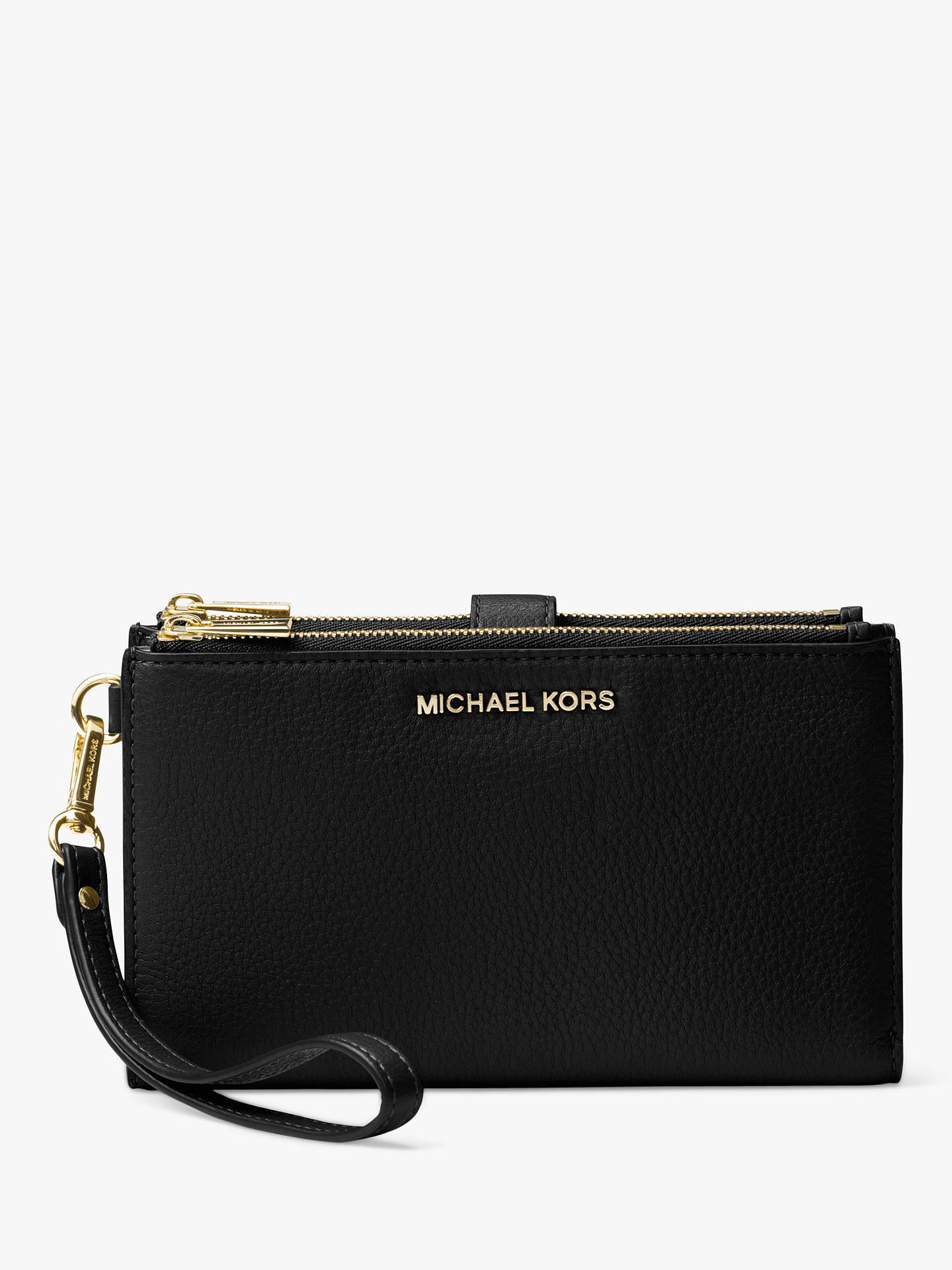 4a1c8e3fff63 Buy MICHAEL Michael Kors Pouches & Clutches Leather Wristlet Purse, Black  Online at johnlewis.