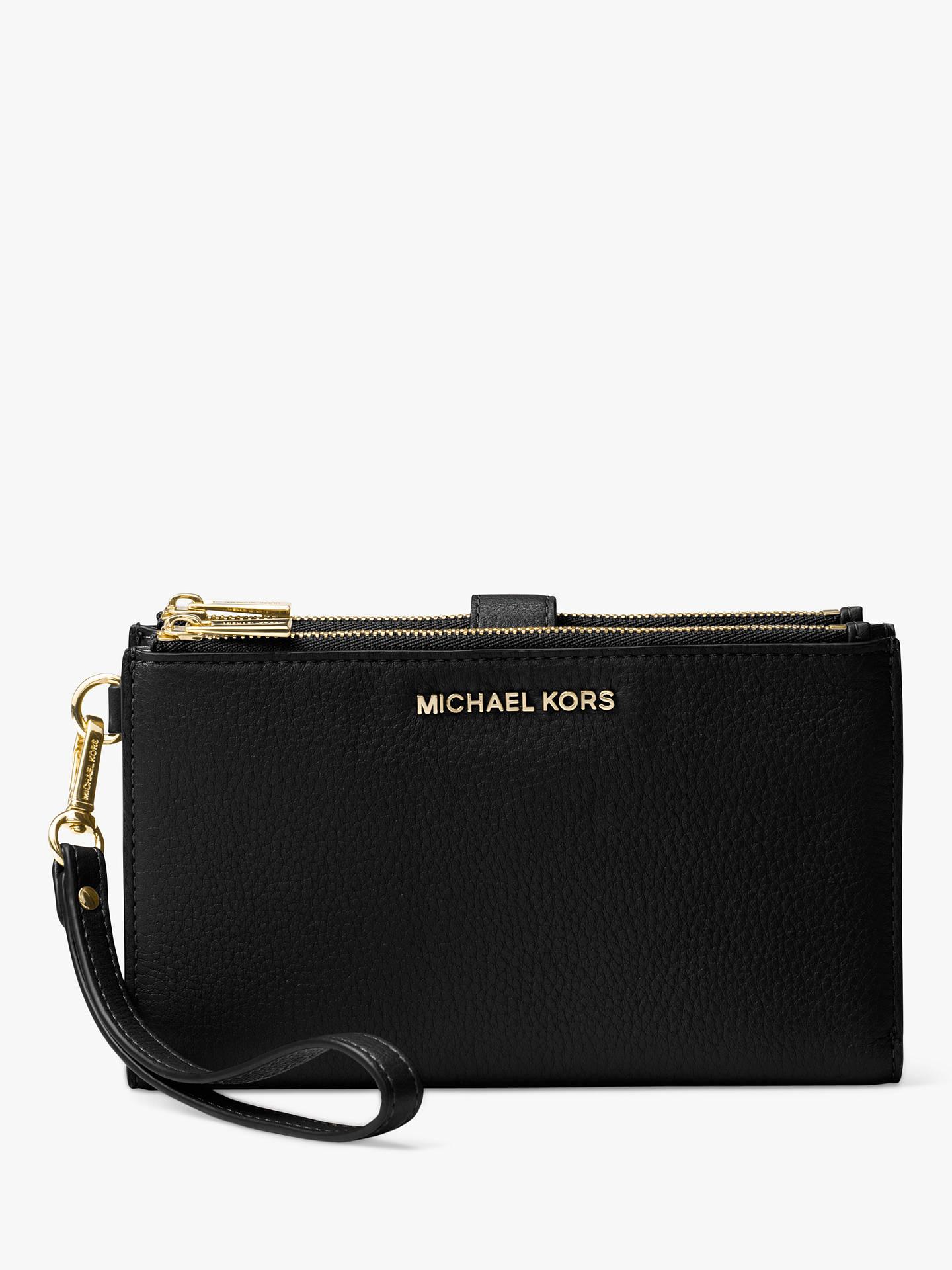 b832b7fa455ebe Buy MICHAEL Michael Kors Pouches & Clutches Leather Wristlet Purse, Black  Online at johnlewis.